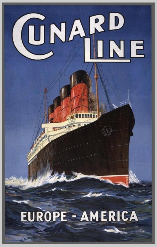 Affiche de la compagnie Cunard montrant un navire transatlantique